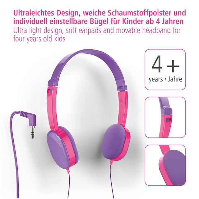 Hama Kinderkopfhörer Kids, Lila/Pink »On Ear, Stereo, 3,5 mm Klinke«