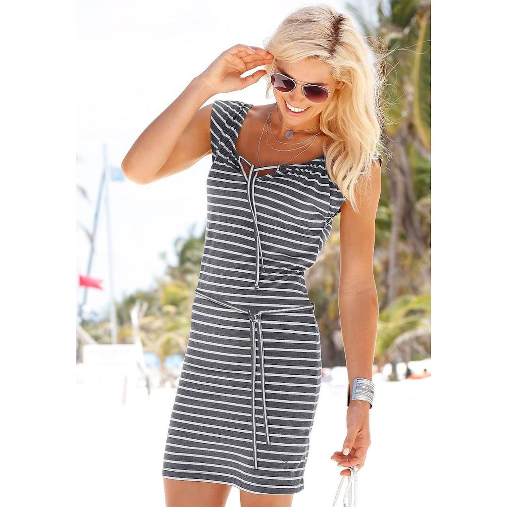 Venice Beach Jerseykleid, (mit Bindegürtel), und Streifenprint