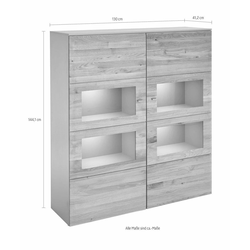 GWINNER Highboard »SOLANO«, Lack fango, 2-türig, Breite 130 cm