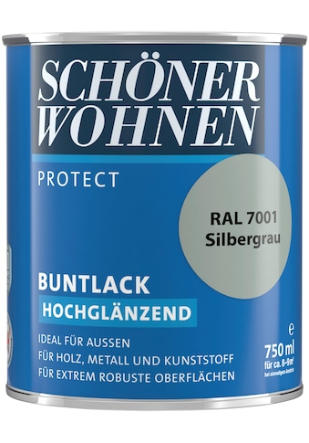 SCHÖNER WOHNEN-Kollektion Lack »Protect Buntlack«, hochglänzend, 750 ml, silbergrau RAL 7001 kaufen