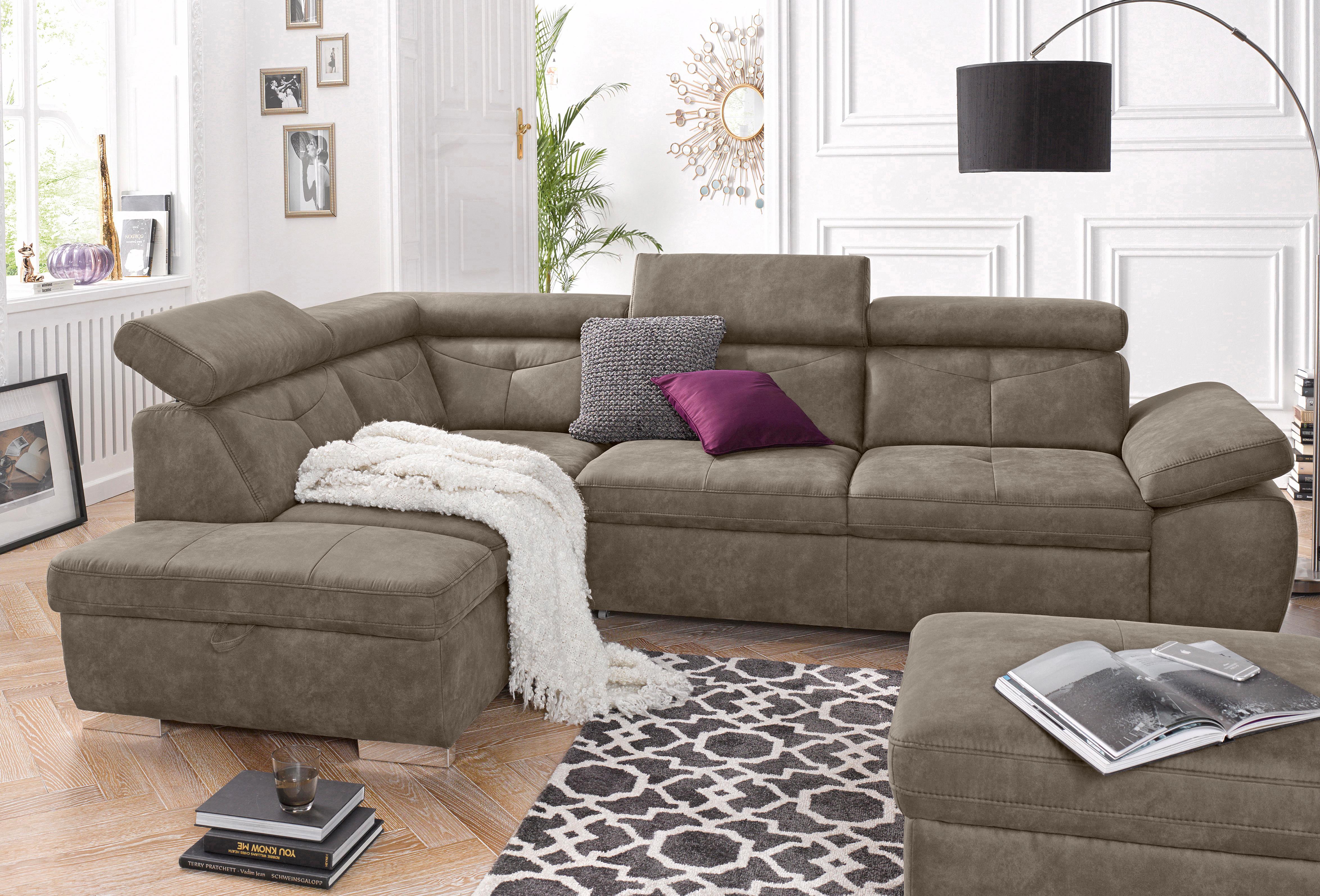 exxpo - sofa fashion Polsterecke wahlweise mit Bettfunktion | Wohnzimmer > Sofas & Couches > Ecksofas & Eckcouches | Microfaser - Kunstleder | Exxpo Sofa Fashion