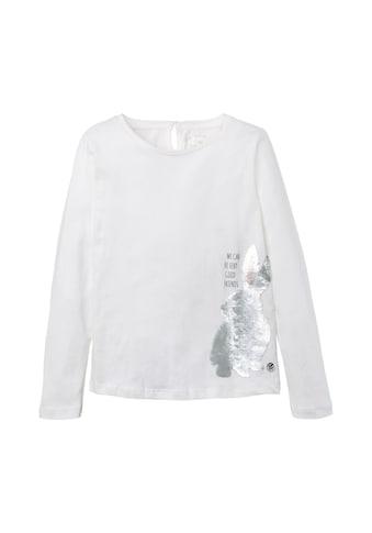 TOM TAILOR Longsweatshirt »Langarmshirt mit Pailletten - Tiermotiv« kaufen