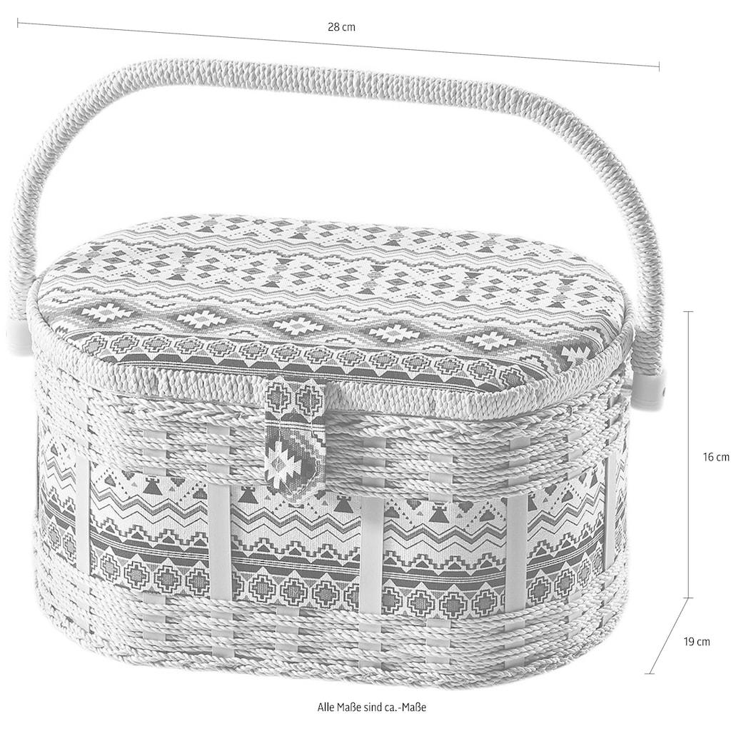 locker Nähkästchen, oval, aus Kunststoff und Textil mit blau weißem Muster