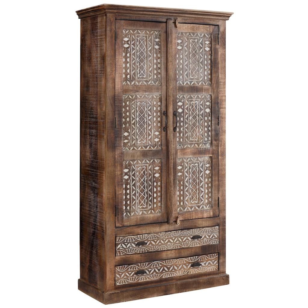 Home affaire Kleiderschrank »Maneesh«, aus schönem massivem Mangoholz und vielen Stauraummöglichkeiten, Höhe 190 cm