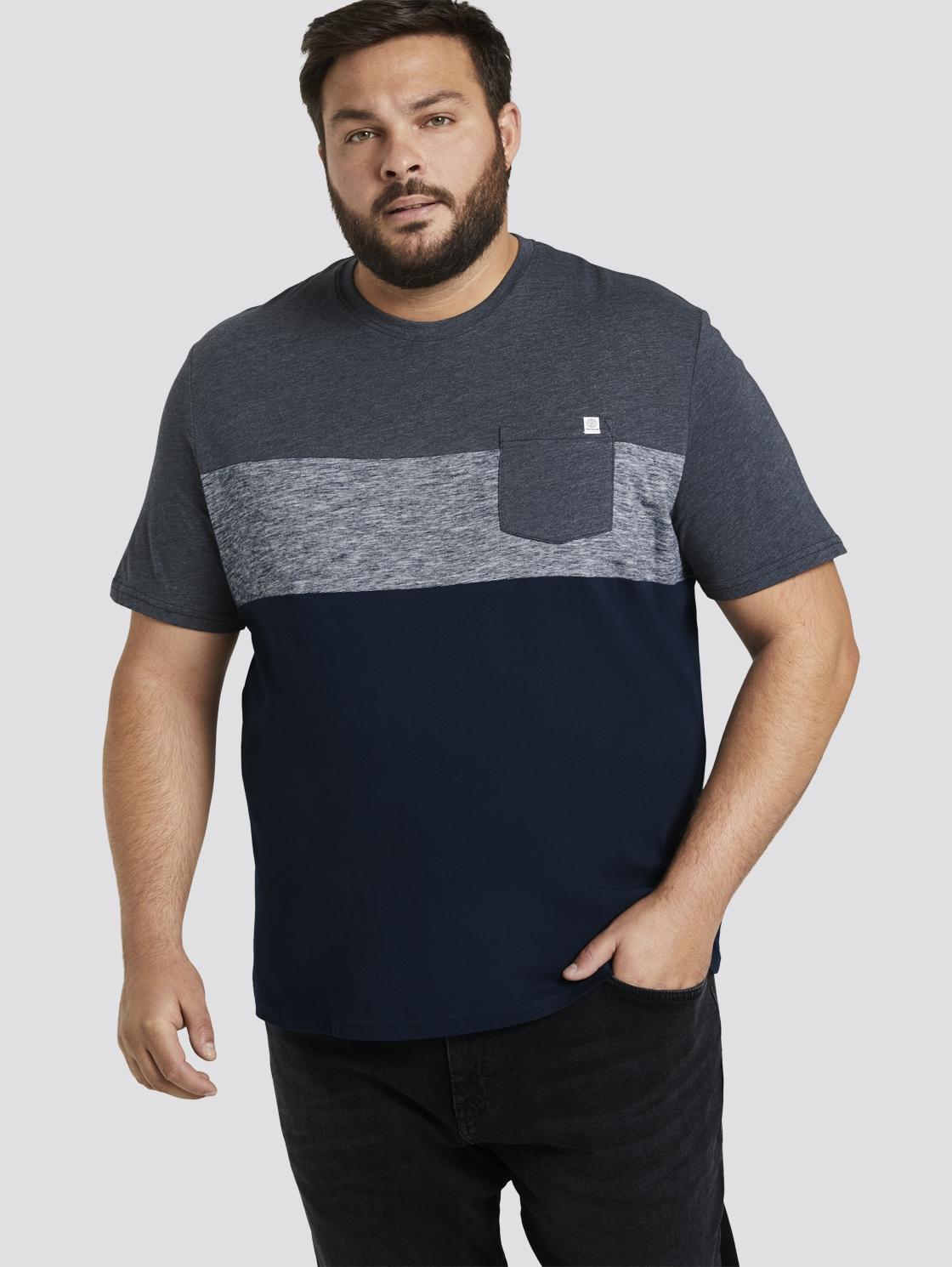 tom tailor men plus -  T-Shirt Blockstreifen T-Shirt mit Brusttasche