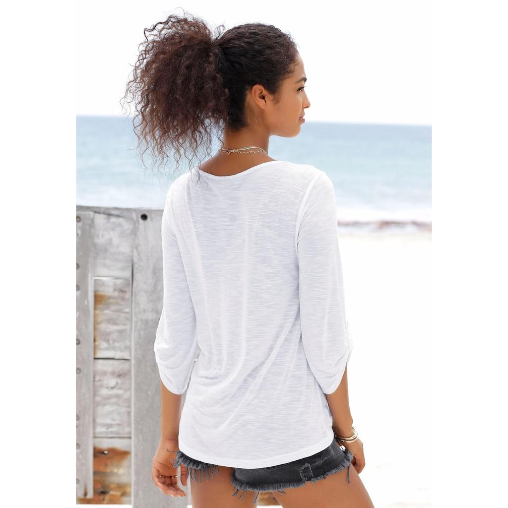 Buffalo Strandshirt, mit Stickerei und Quasten
