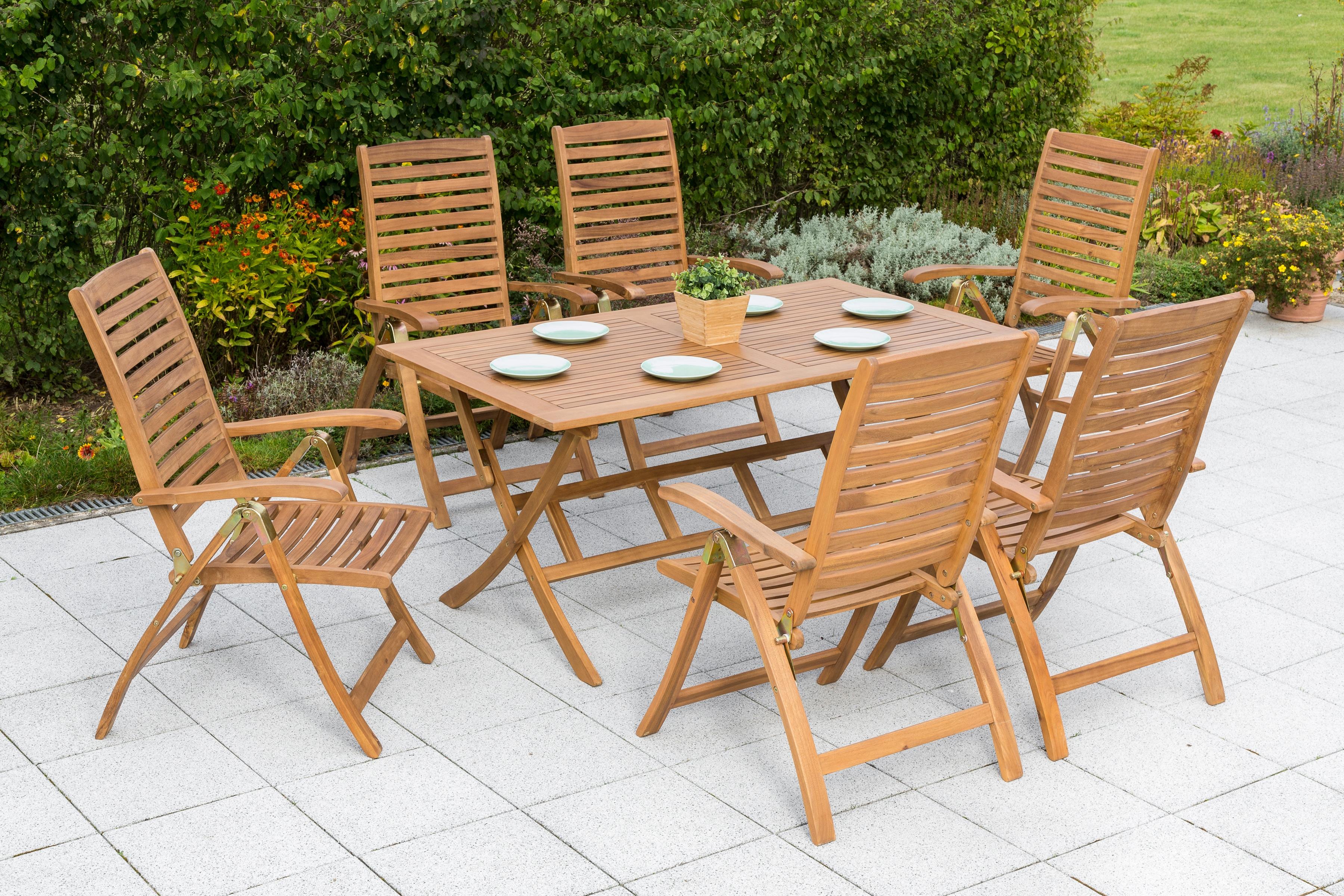 MERXX Gartenmöbelset Paraiba 7-tlg 6 Klappsessel Tisch 200x100 cm Akazie klappbar