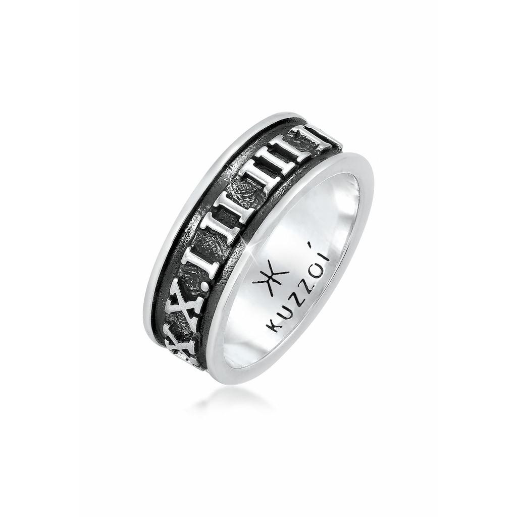 Kuzzoi Silberring »Herren Bandring Römische Zahlen 925 Silber«