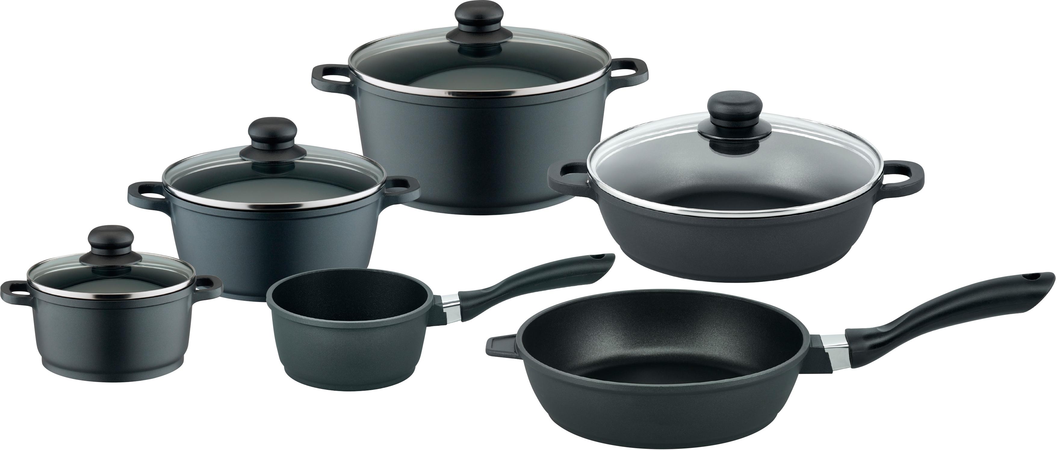 Elo - Basic Elo Basic Topf-Set Black Cast, Aluminiumguss, (Set, 10 tlg.), Induktion schwarz Topfsets Töpfe Haushaltswaren