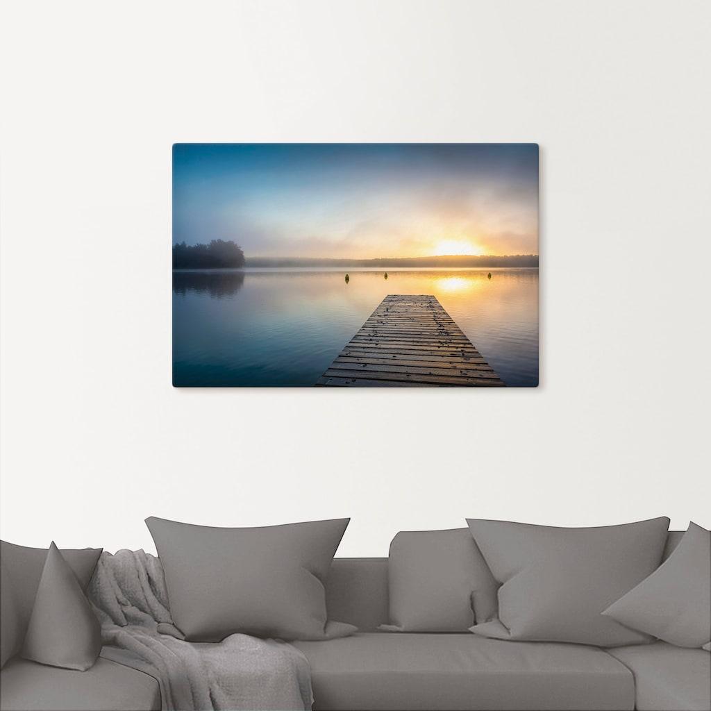 Artland Wandbild »Sonnenaufgang am See«, Sonnenaufgang & -untergang, (1 St.), in vielen Größen & Produktarten - Alubild / Outdoorbild für den Außenbereich, Leinwandbild, Poster, Wandaufkleber / Wandtattoo auch für Badezimmer geeignet
