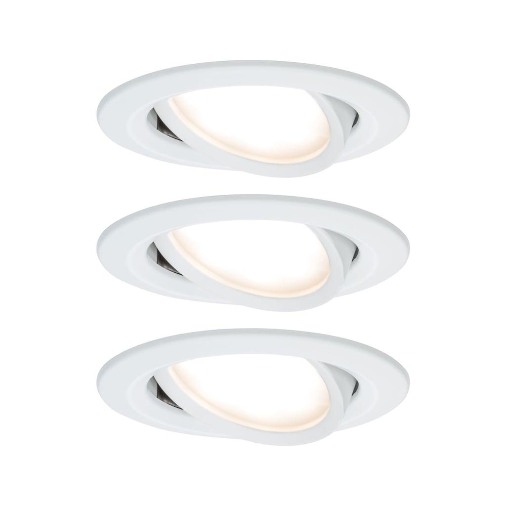 Paulmann LED Einbaustrahler »Nova rund 3x6,5W Weiß matt schwenkbar 3-Stufen-dimmbar«, 3 St., Warmweiß