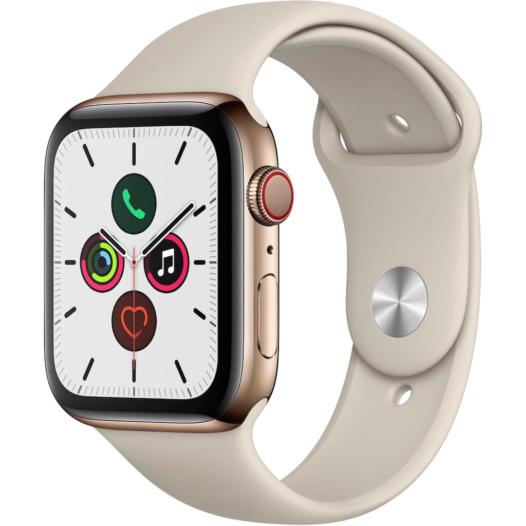 Apple Watch »Series 5 GPS + Cellular, Edelstahlgehäuse mit Sportarmband 44mm«, (Watch OS 6)