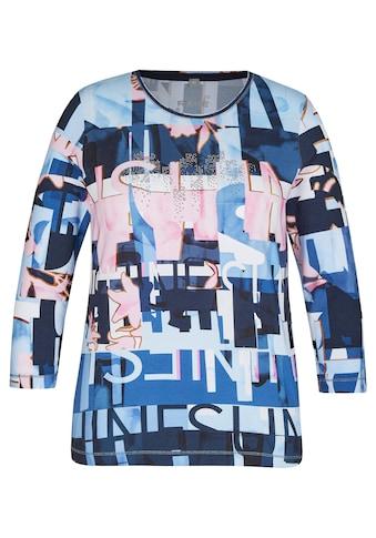Rabe Rundhalsshirt, mit abstraktem Allover-Muster und Lettering kaufen