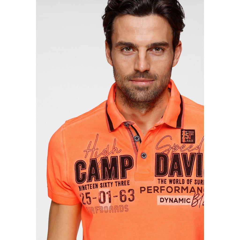CAMP DAVID Poloshirt, mit Logrofrontprint
