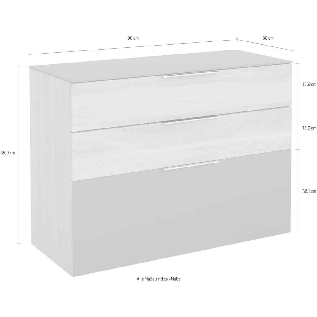 Maja Möbel Hängeschuhschrank »SHINO Garderobe«, Oberplatte in ESG-Sicherheitsglas, Schubladen mit Filzeinlagen