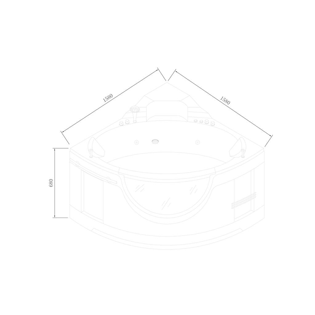 Sanotechnik Eckwanne, 150/150/68 cm, Eckbadewanne mit Fenster, Acryl