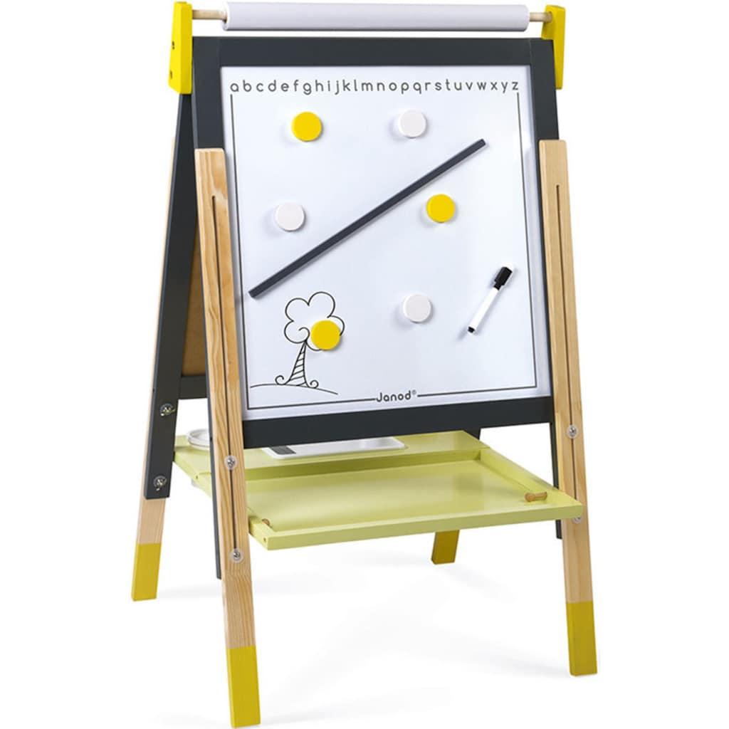 Janod Standtafel »Magnet- und Kreidetafel, gelb/grau mit Zubehör«