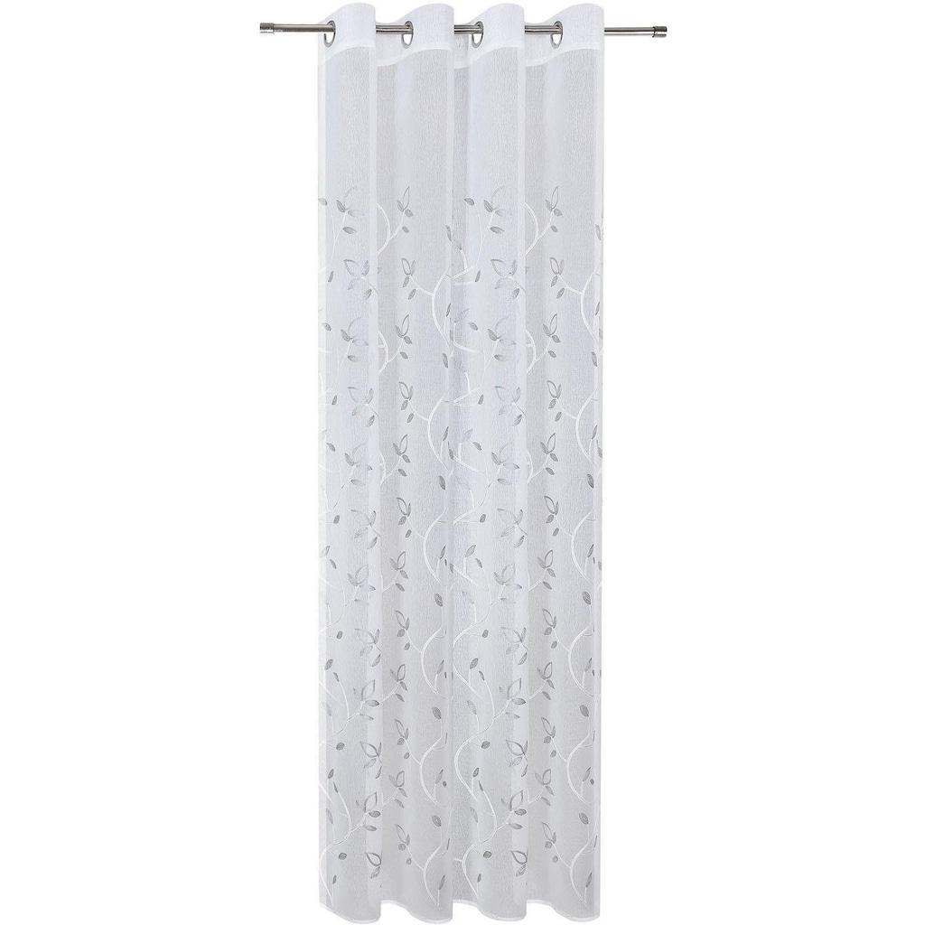 Gerster Vorhang »Freda«, HxB: 235x140, Ösenschal mit Blattranke bestickt