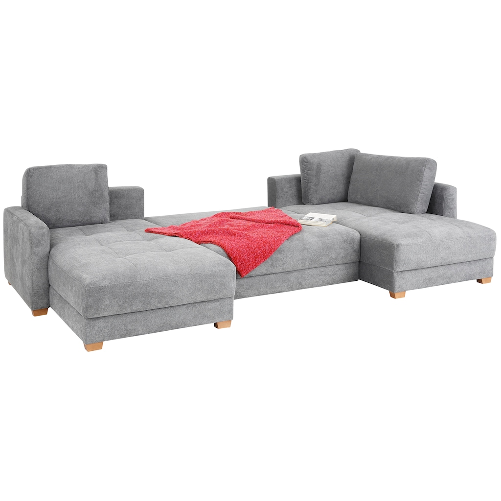 DELAVITA Wohnlandschaft »Casella Luxus«, mit Bettfunktion und Bettkasten, mit besonders hochwertiger Polsterung für bis zu 140 kg pro Sitzfläche