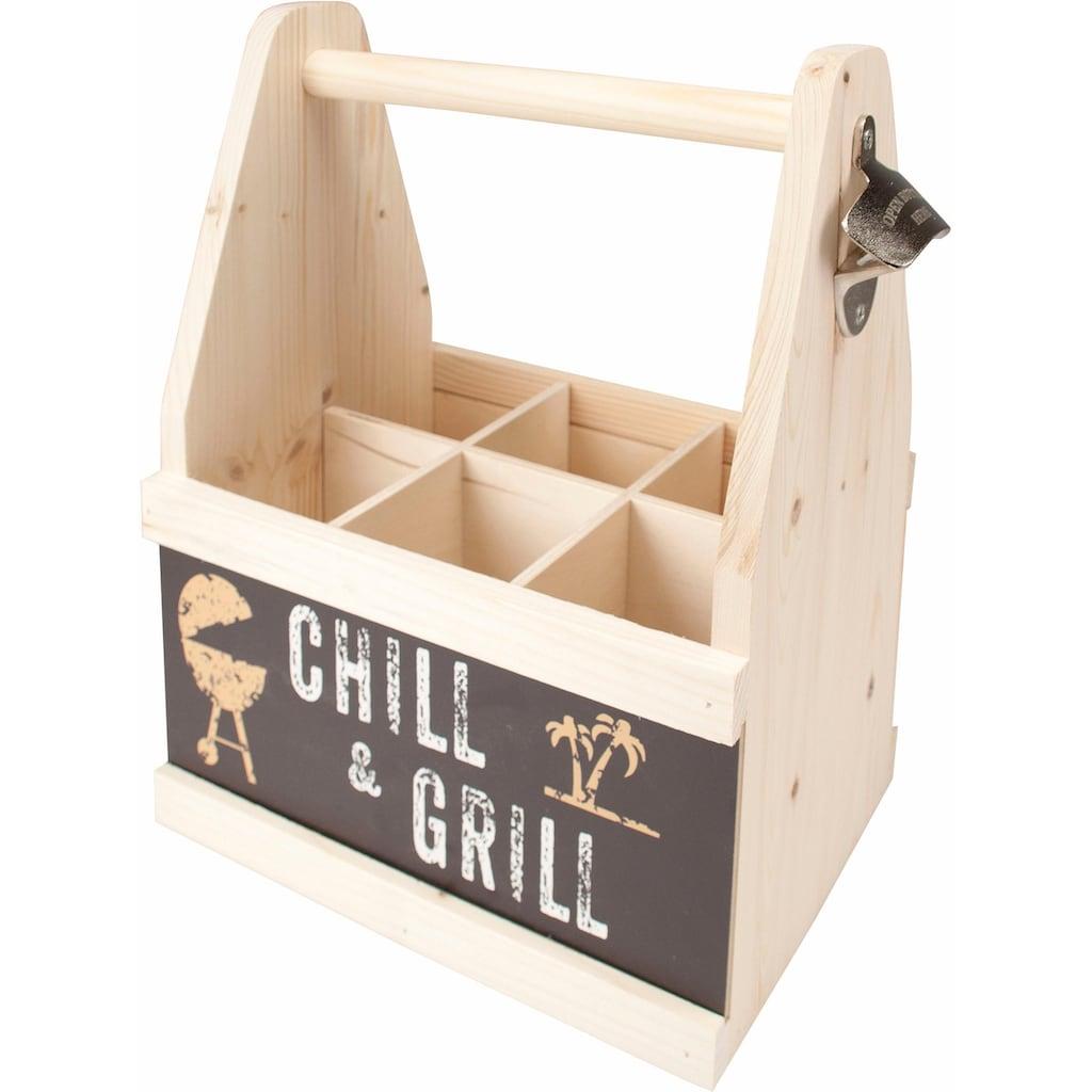 Contento Flaschenkorb »Chill & Grill«, (1 tlg.), aus europäischem Holz