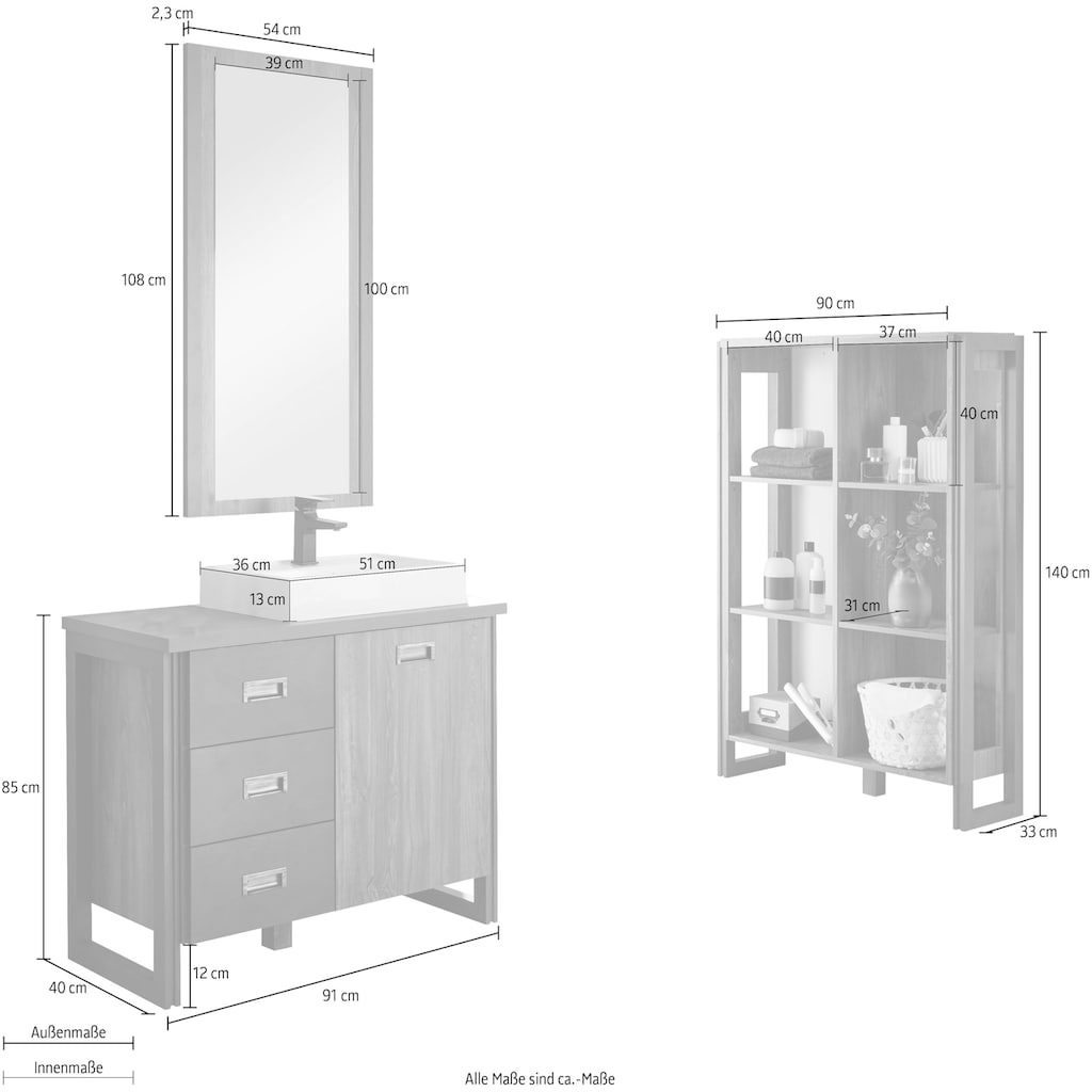 Home affaire Badmöbel-Set »Detroit«, (Set, 3 St.), inklusive Aufsatzwaschbecken aus Mineralguss