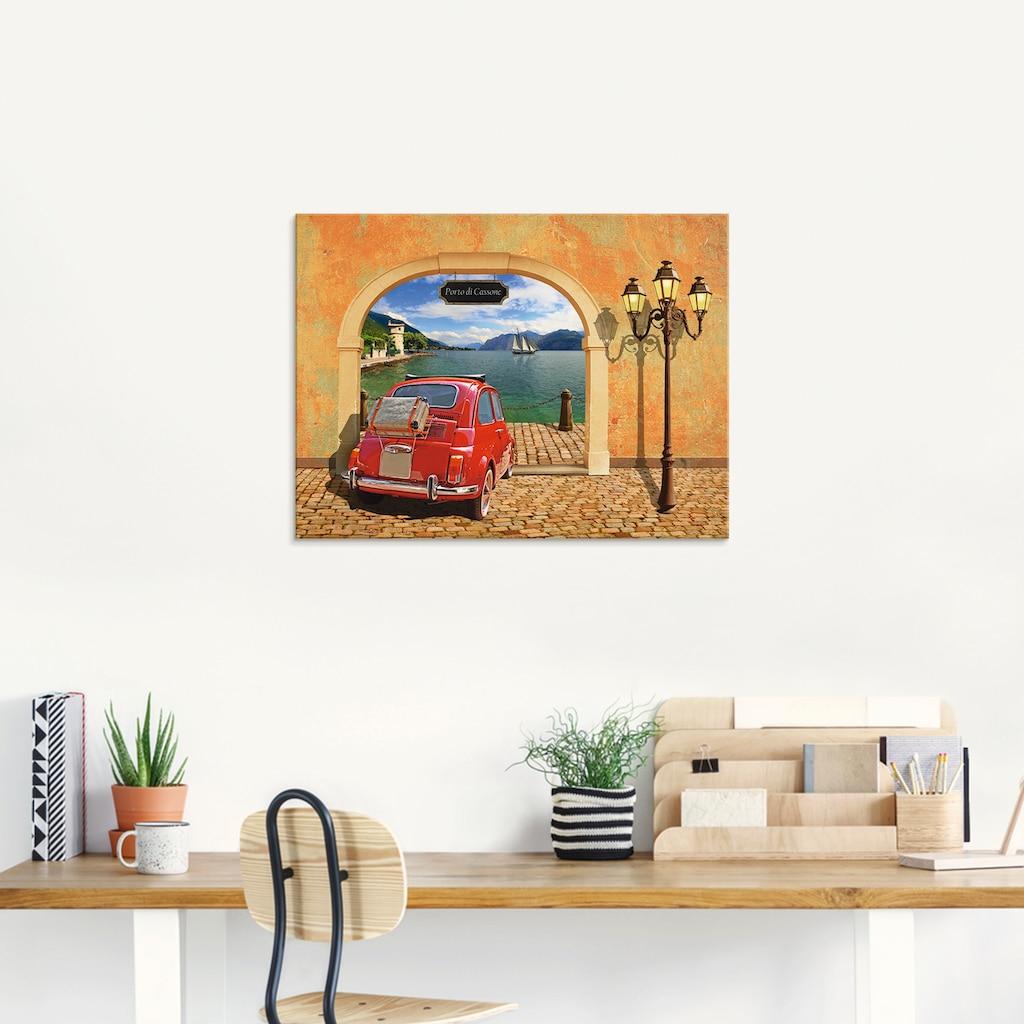 Artland Glasbild »Kleiner italienischer Hafen«, Auto, (1 St.)