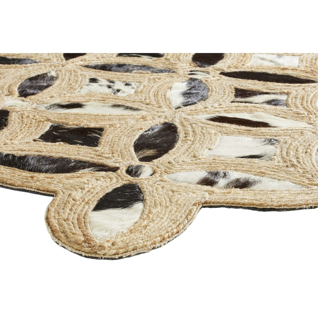 Teppich APUKA aus Kuhfell und Jute