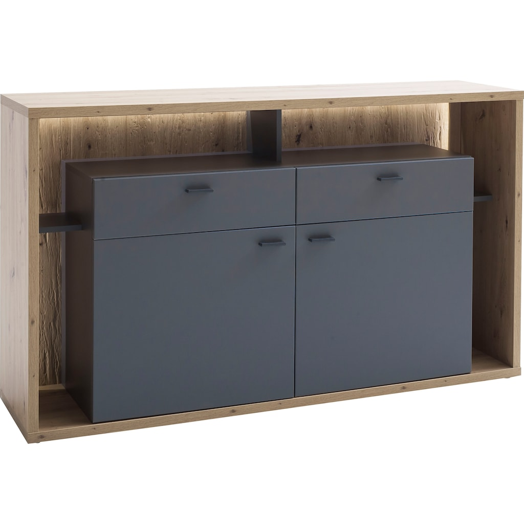 MCA furniture Sideboard »Lizzano«, moderner Landhausstil, Wohnzimmerschrank mit 3-D Rückwand, wahlweise mit Beleuchtung