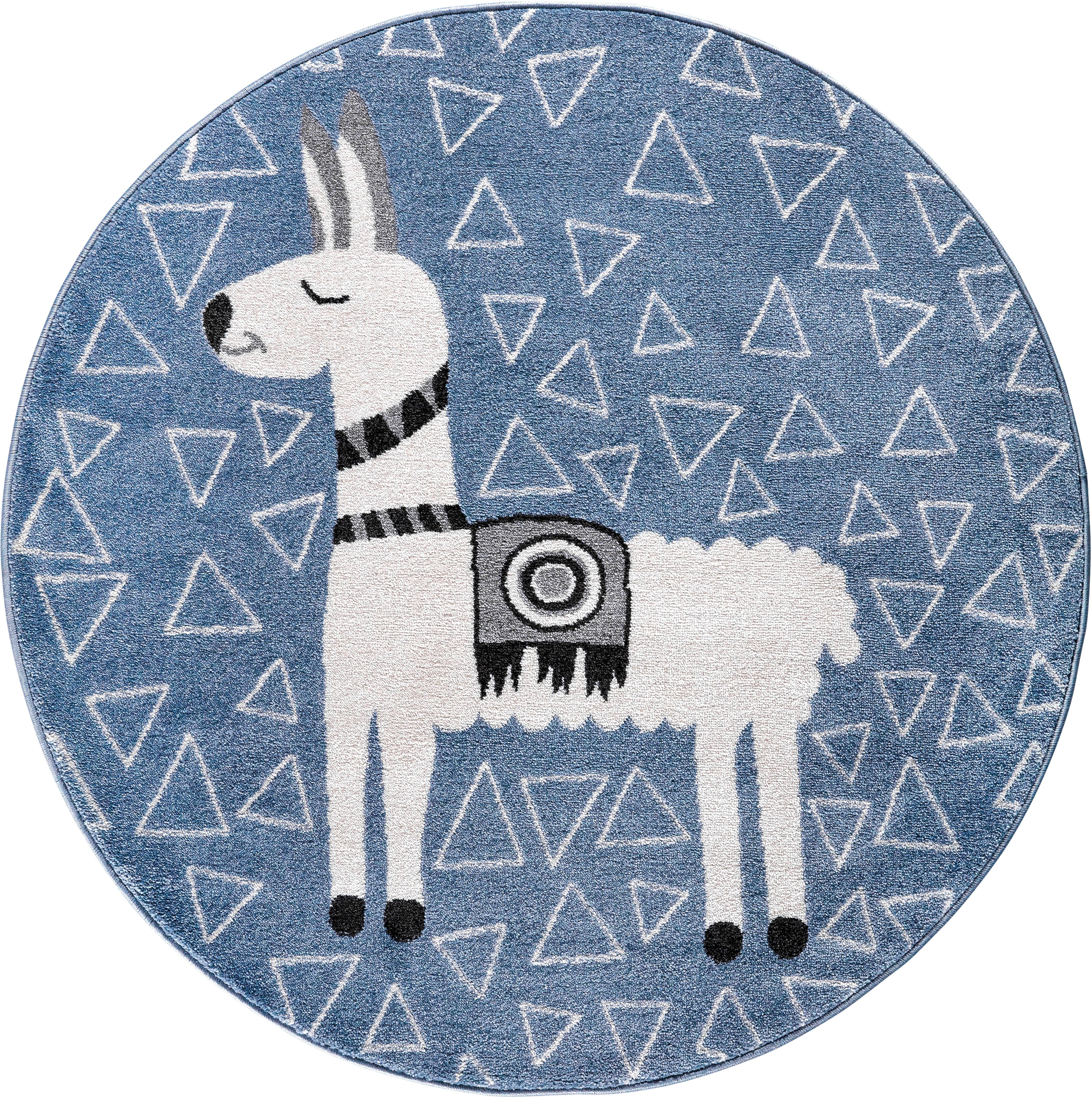 Festival Kinderteppich Candy 153, rund, 11 mm Höhe, Motiv Lama blau Kinder Kinderteppiche mit Teppiche