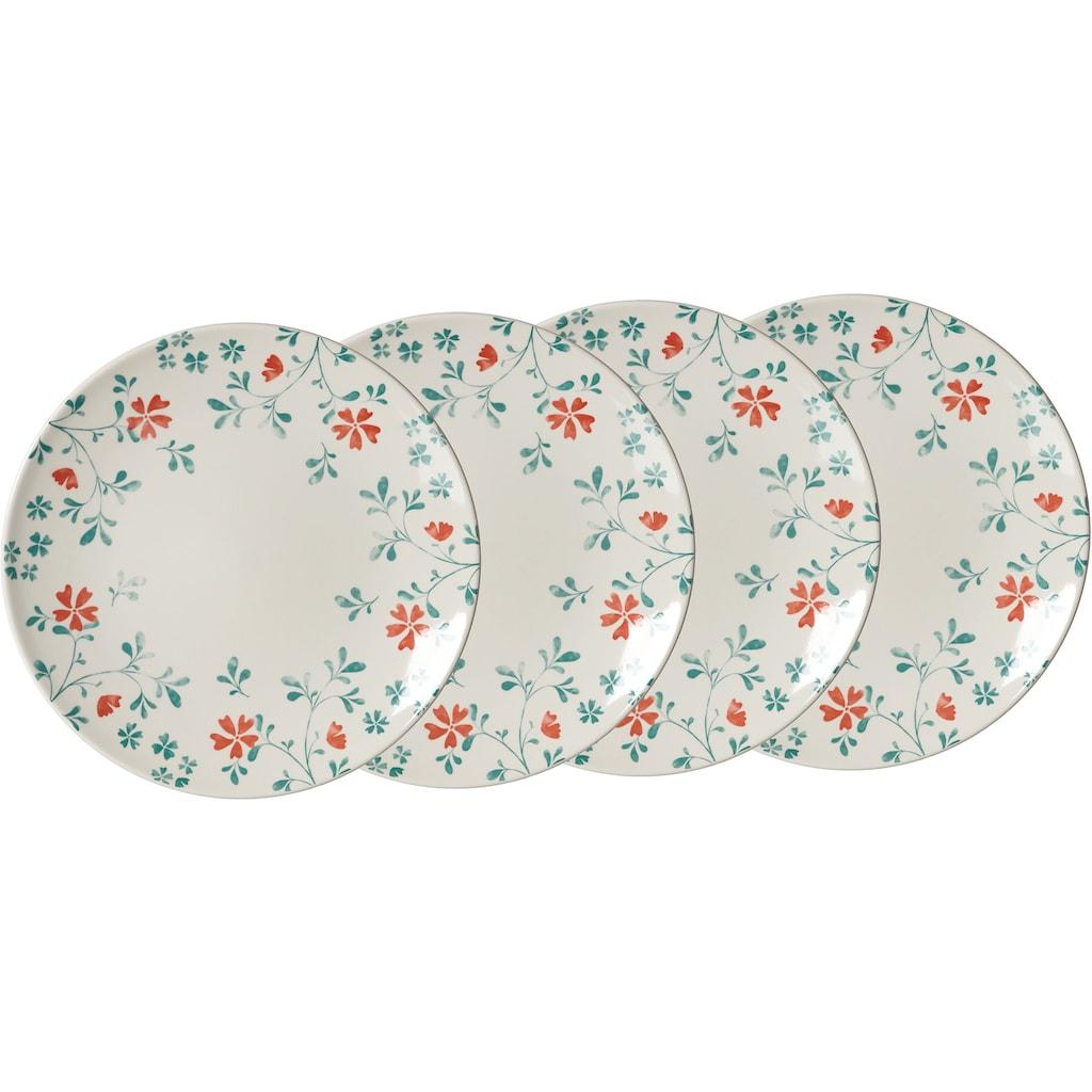 Ritzenhoff & Breker Speiseteller »Julia«, (Set, 4 St., 4 Speiseteller, je 26,5 cm Durchmesser), mit Floral-Dekor, Ø 26,5 cm