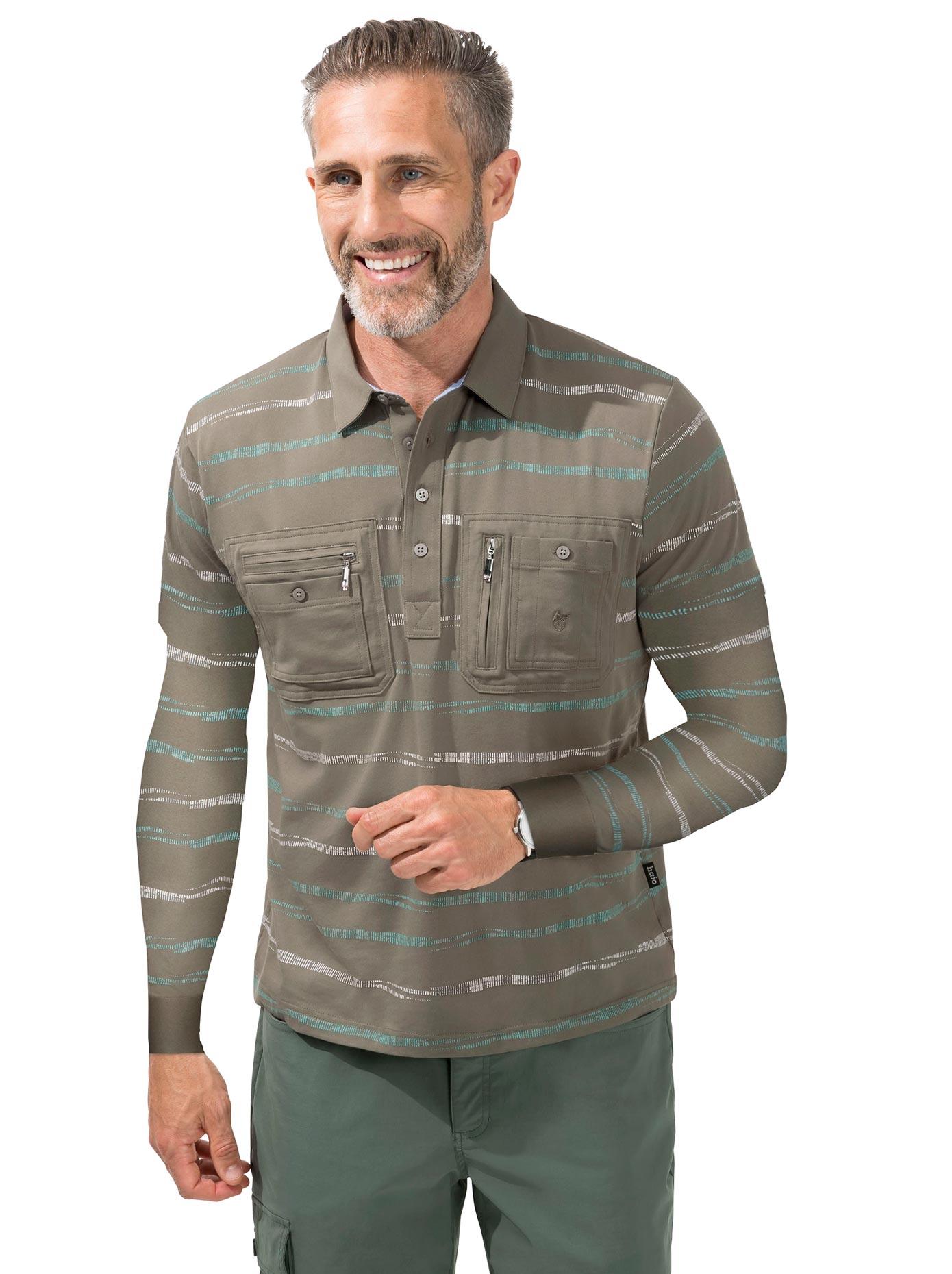 Hajo Langarm-Poloshirt grün Herren Langarm Shirts Poloshirts
