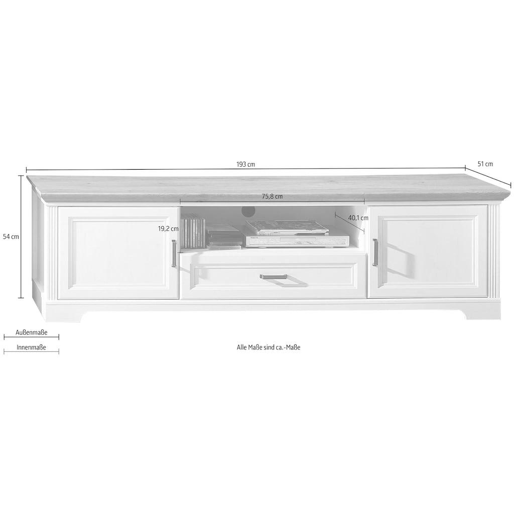 Innostyle Lowboard »Jasmin«, Breite 193 cm, 2 Holztüren, 1 Schubkasten, 1 offenes Fach