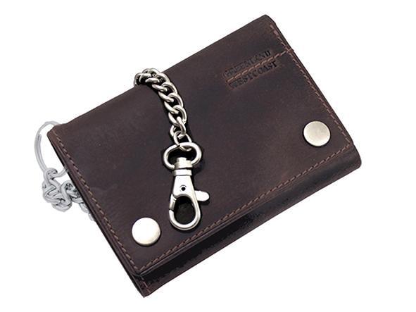 GreenLand Nature Geldbörse Westcoast, aus Leder mit Gürtelkette braun Geldbörsen Geldscheinklammern Taschen Unisex