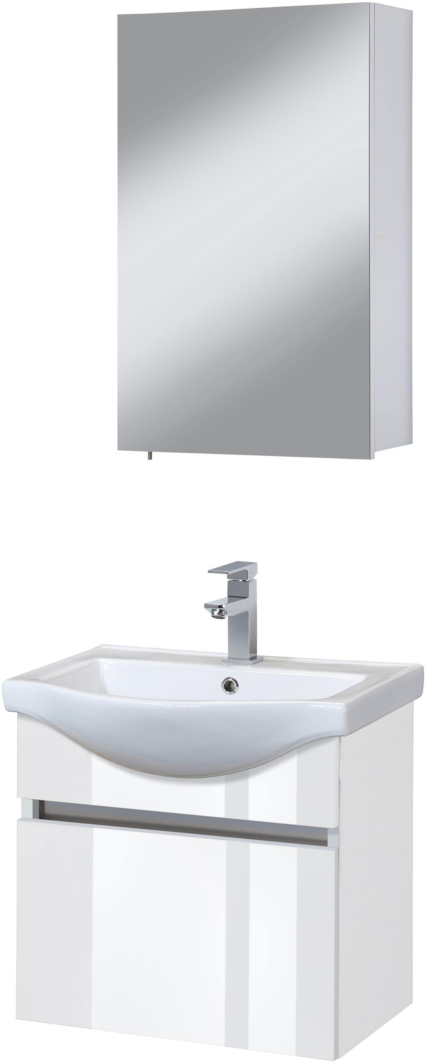 Badmöbel-Set Dinar Premium Waschtisch und Spiegelschrank Breite 55 cm 3-tlg