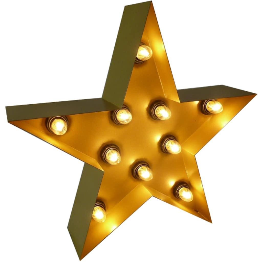 MARQUEE LIGHTS LED Dekolicht »Stern«, E14, 1 St., Warmweiß, Wandlampe, Tischlampe Star mit 10 festverbauten LEDs - 38cm Breit und 38cm hoch
