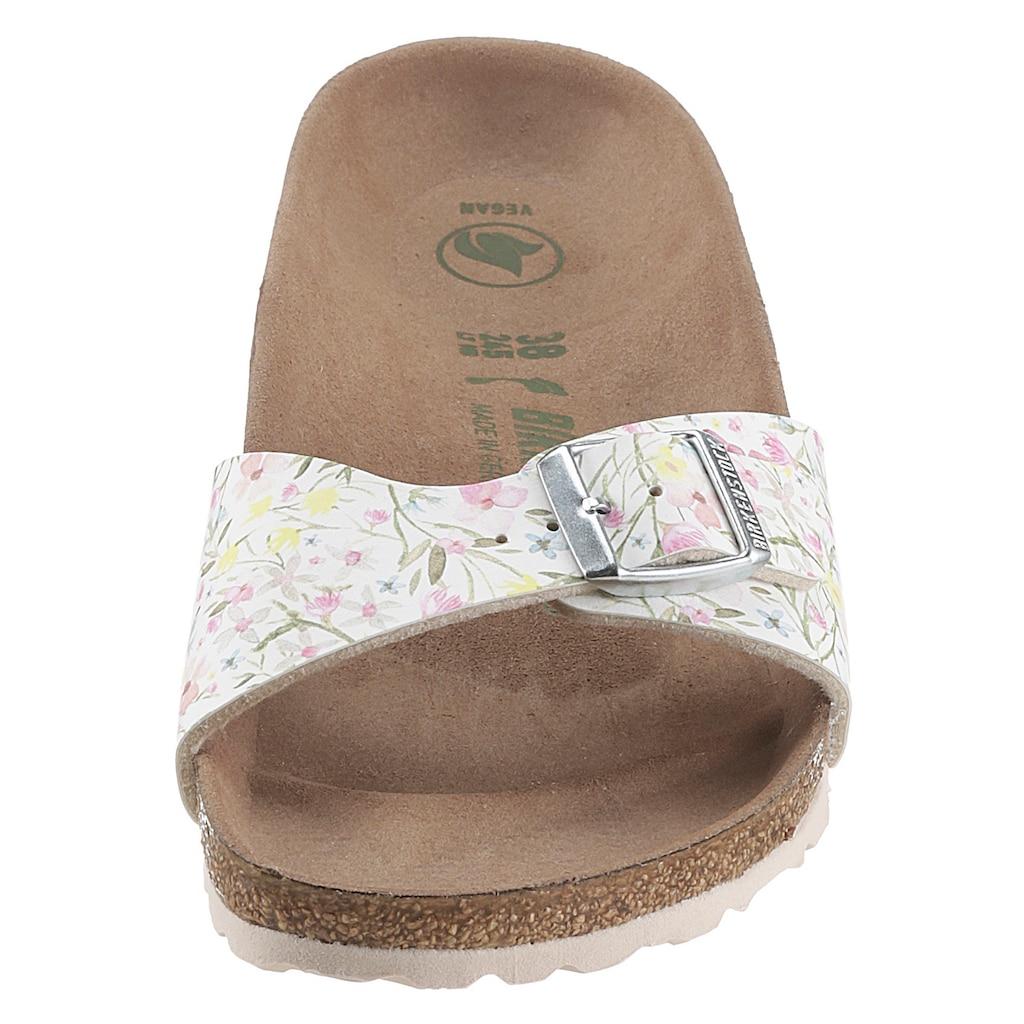 Birkenstock Pantolette »Madrid watercolor flower vegan«, mit Blumendruck, schmale Schuhweite