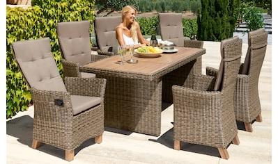 MERXX Gartenmöbelset »Toskana Deluxe«, 13 - tlg., 6 Sessel, Tisch 185x90 cm, Polyrattan/Akazie kaufen