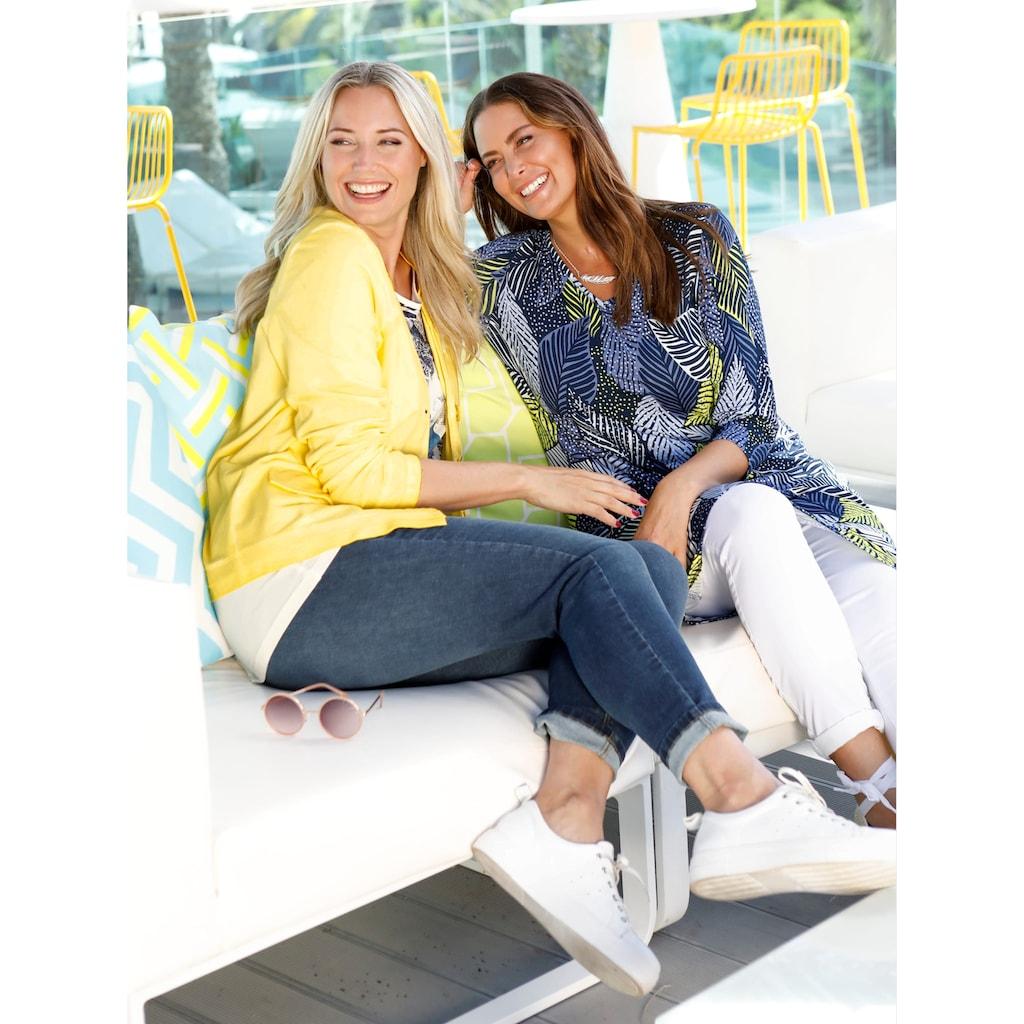 MIAMODA Jeans mit asymmetrischem Fransenabschluss