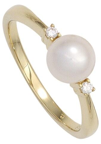 JOBO Perlenring, 585 Gold mit Süßwasser-Zuchtperle und 2 Diamanten kaufen