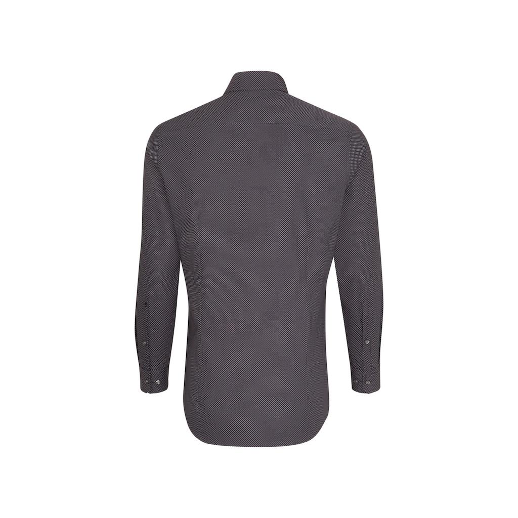 seidensticker Businesshemd »Slim«, Slim Extra kurzer Arm Kentkragen Druck