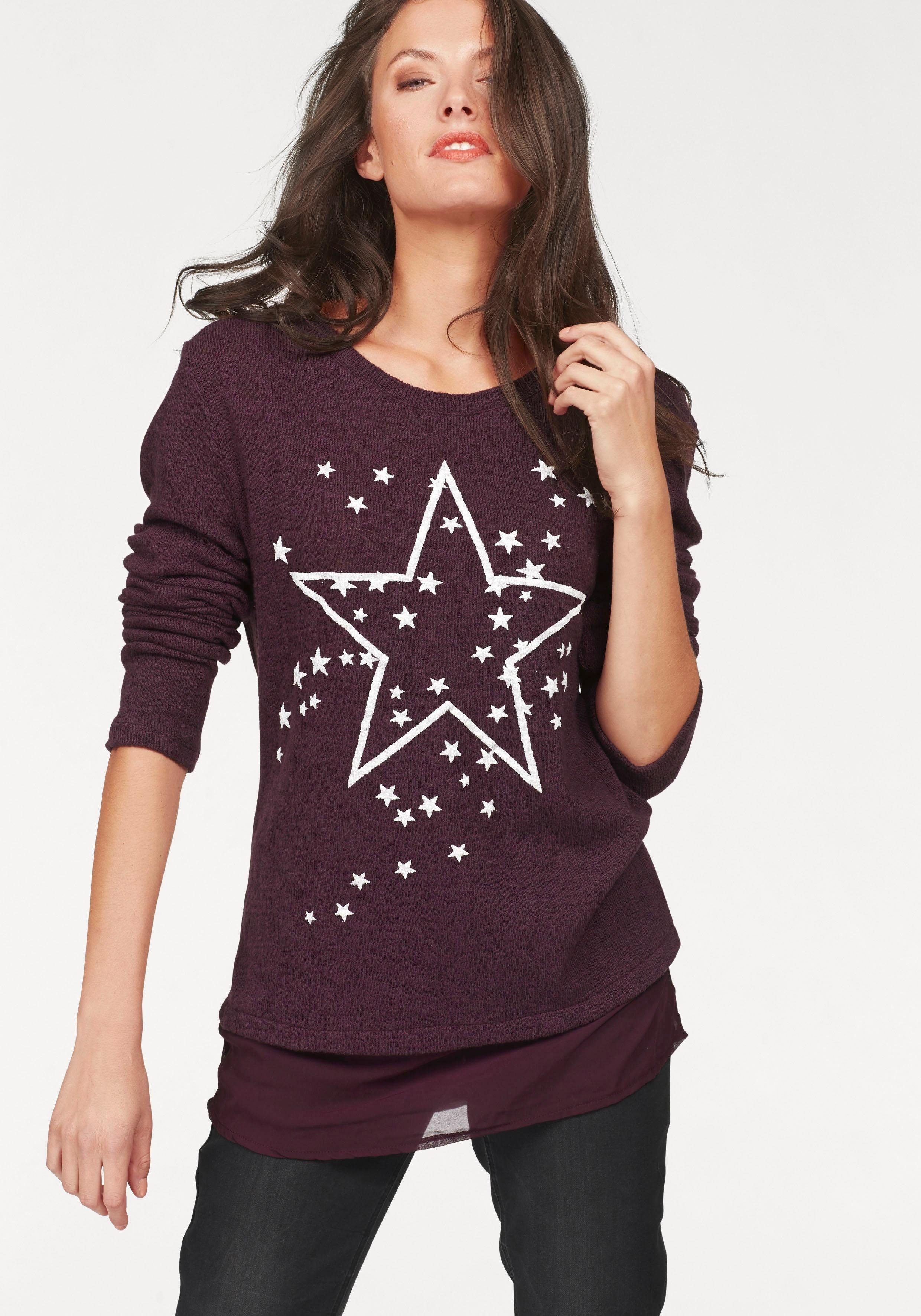 Aniston 2-in-1-Pullover Sternendruck Chiffon-Einsatz am Saum | Bekleidung > Pullover > 2-in-1 Pullover | Rot | Aniston By Baur
