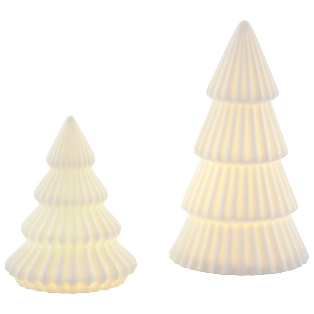 CHRISTMAS GOODS by Inge LED Baum »Tree«, aus Porzellan, Höhe ca. 10,5 cm + 15 cm