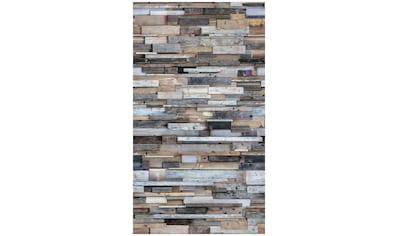 Bodenmeister Fototapete »3d Effekt Holzwand Vintage bunt« kaufen