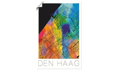 Artland Wandbild »Retro Karte Den Haag«, Niederlande, (1 St.), in vielen Größen & Produktarten - Alubild / Outdoorbild für den Außenbereich, Leinwandbild, Poster, Wandaufkleber / Wandtattoo auch für Badezimmer geeignet kaufen