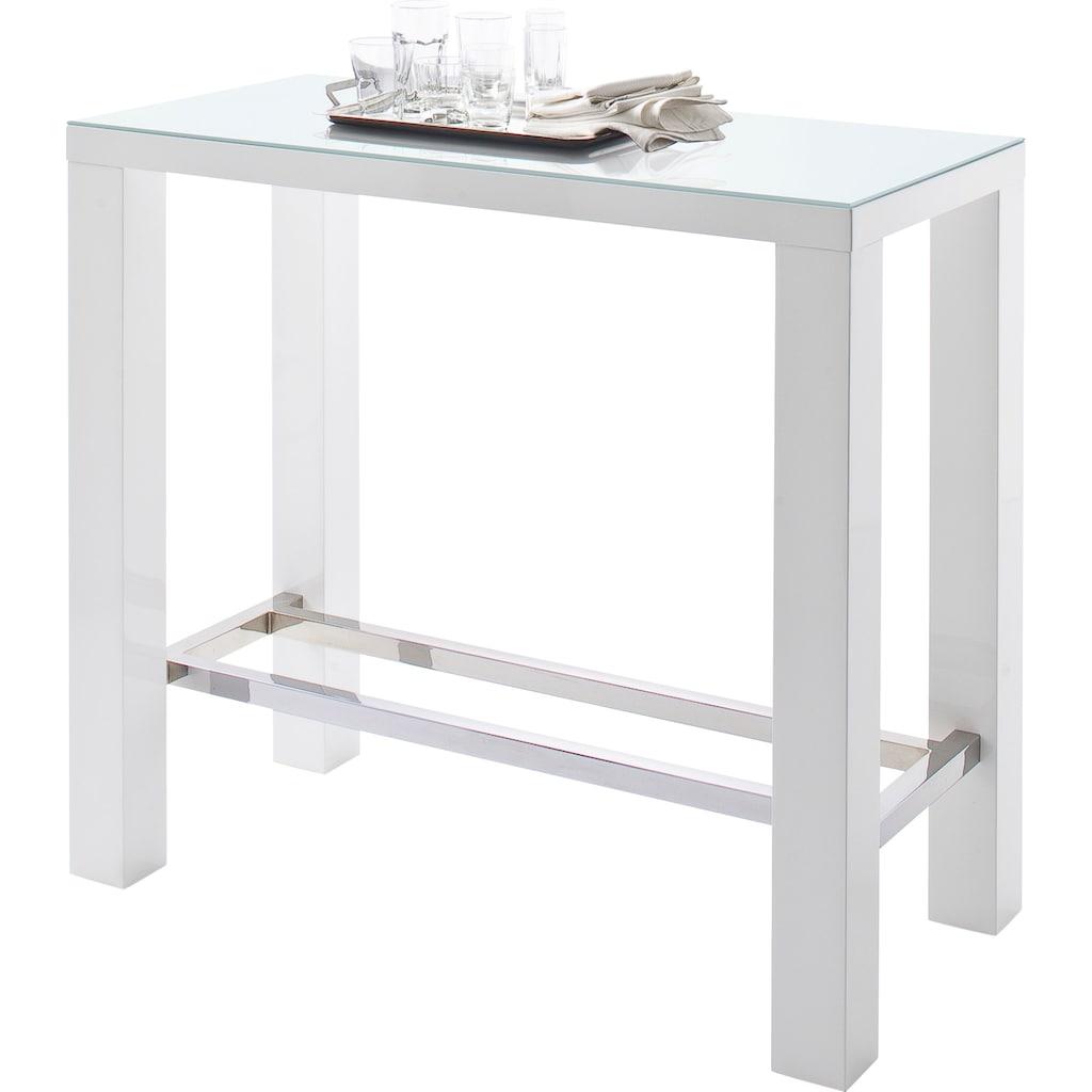 MCA furniture Bartisch »Jam«, Bartisch weiß hochglanz, Küchentisch, Stehtisch mit Sicherheitsglas