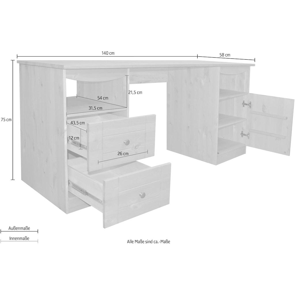 Places of Style Schreibtisch »Telde«, aus Kiefer massiv, Breite 140 cm