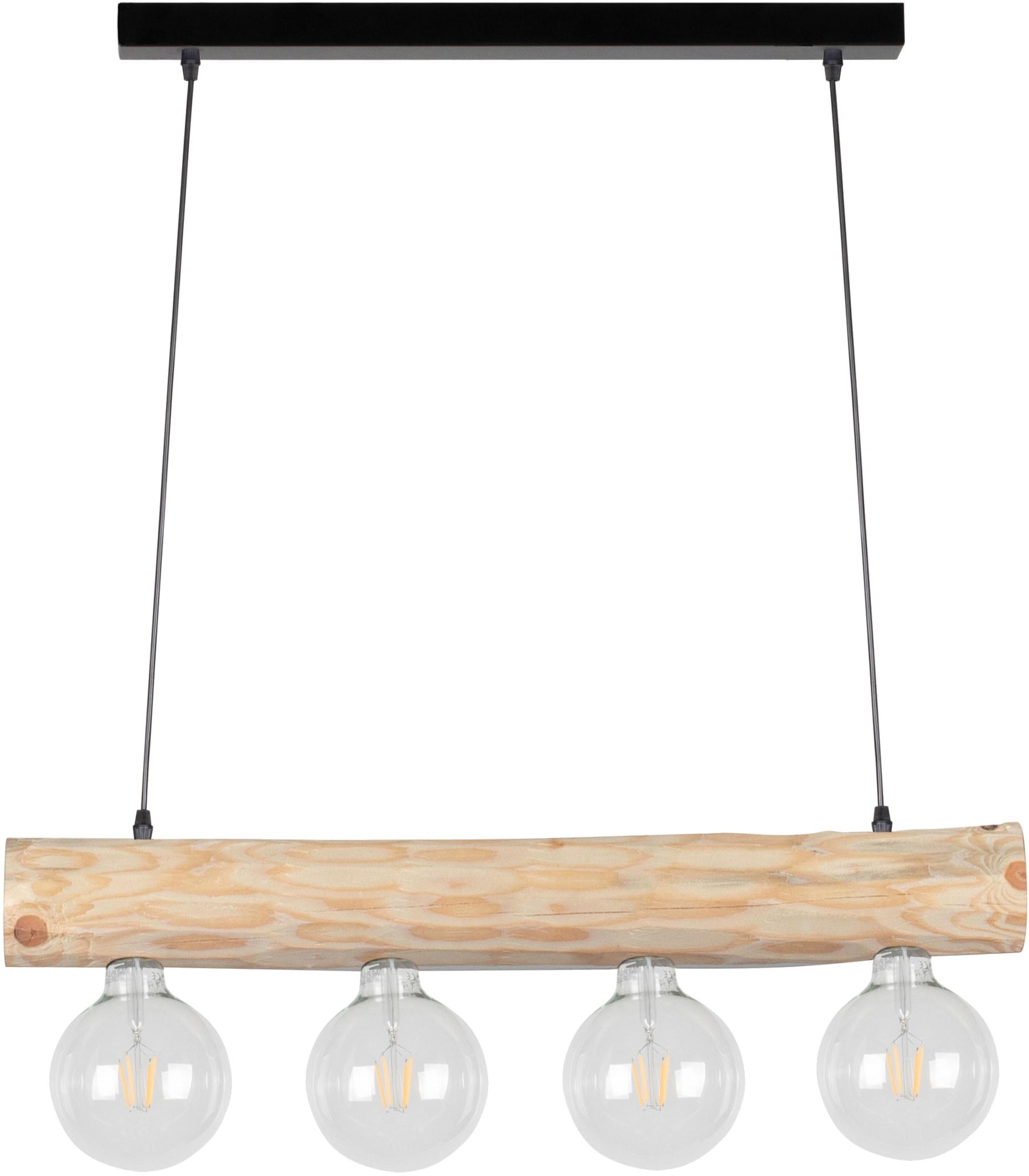 SPOT Light Pendelleuchte TRABO SIMPLE, E27, Hängeleuchte, Holzbalken aus massivem Kiefernholz Ø 8-12 cm, Passende LM E27/exklusive, Made in Europe