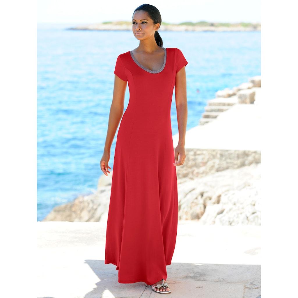 Alba Moda Strandkleid mit Silberlurex abgesetzt