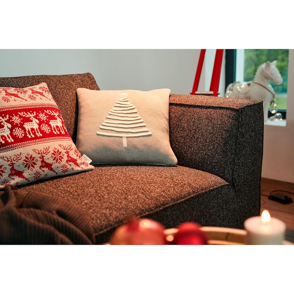 TOM TAILOR Dekokissen »Knitted Shiny Tree«, Gestrickte Kissenhülle mit Weihnachtsbaum-Motiv