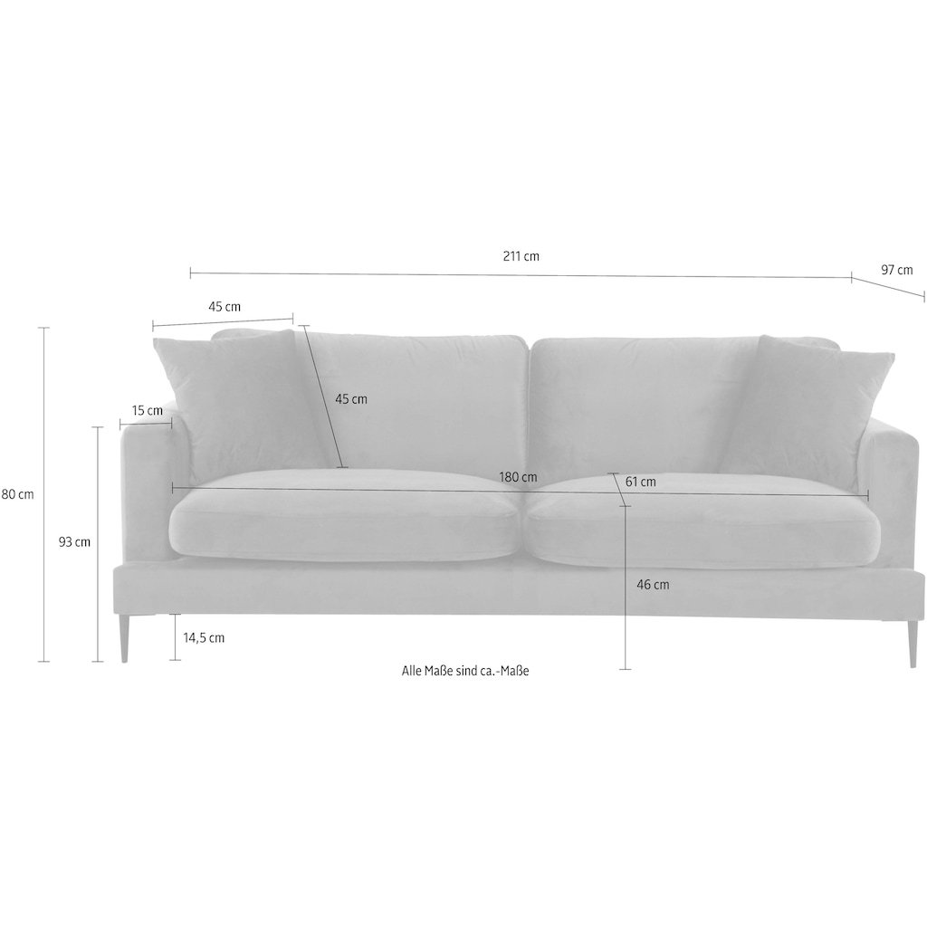 Leonique 3-Sitzer »Cozy«, mit losen Kissen und Metallbeinen